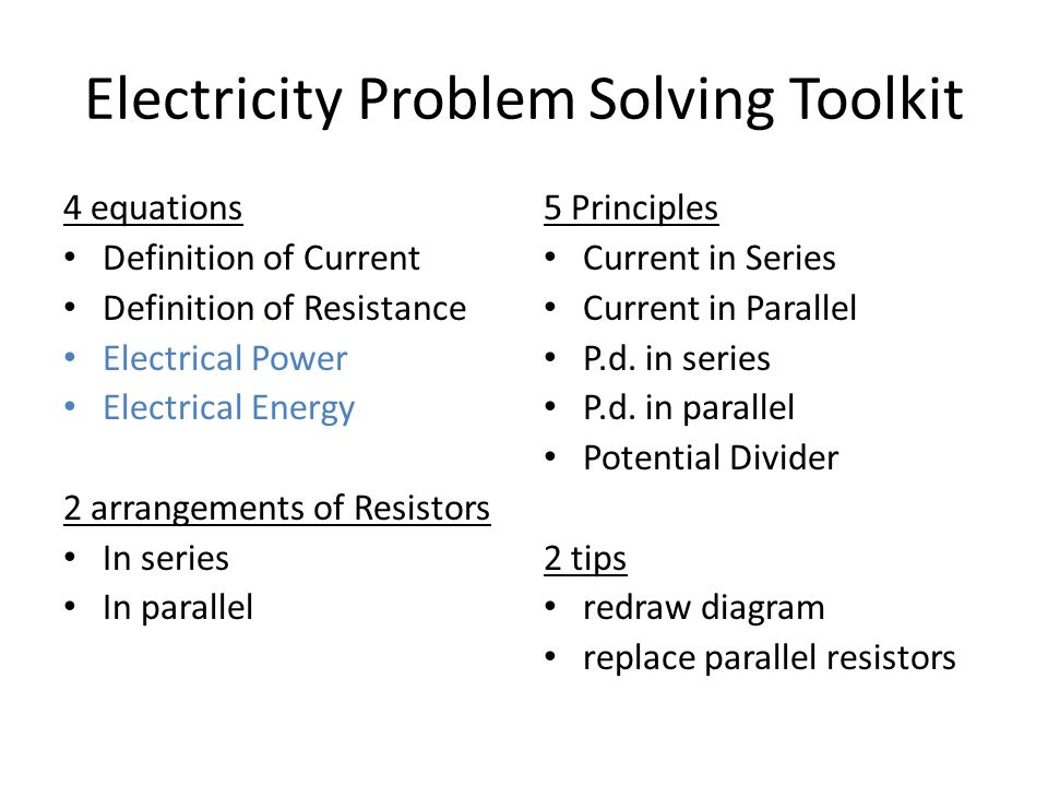 Electricity Problem Solving Toolkit