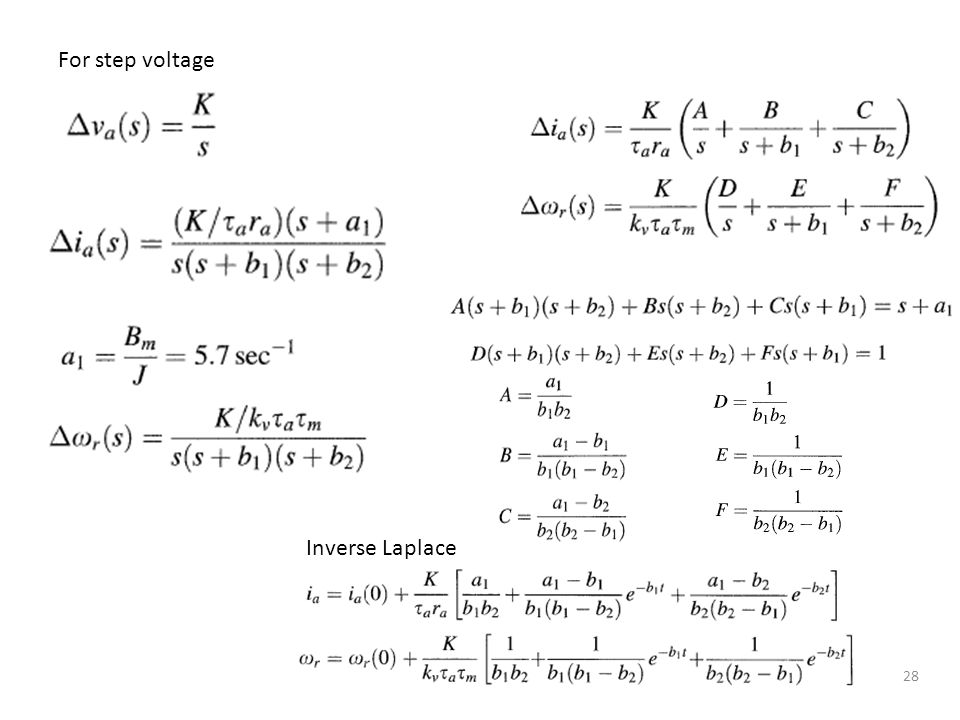 For step voltage Inverse Laplace