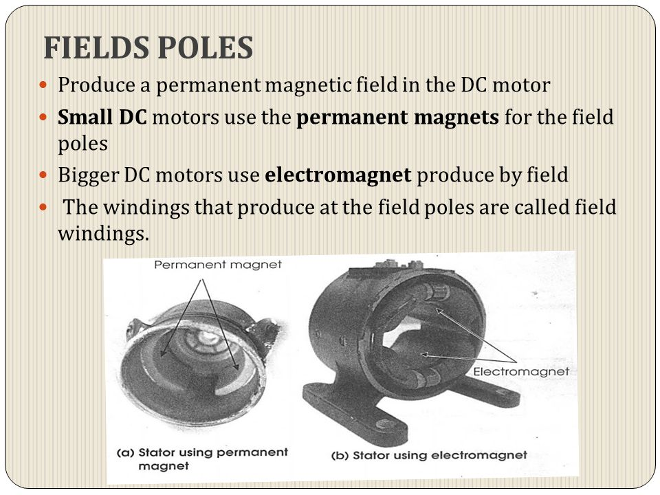 FIELDS POLES Produce a permanent magnetic field in the DC motor