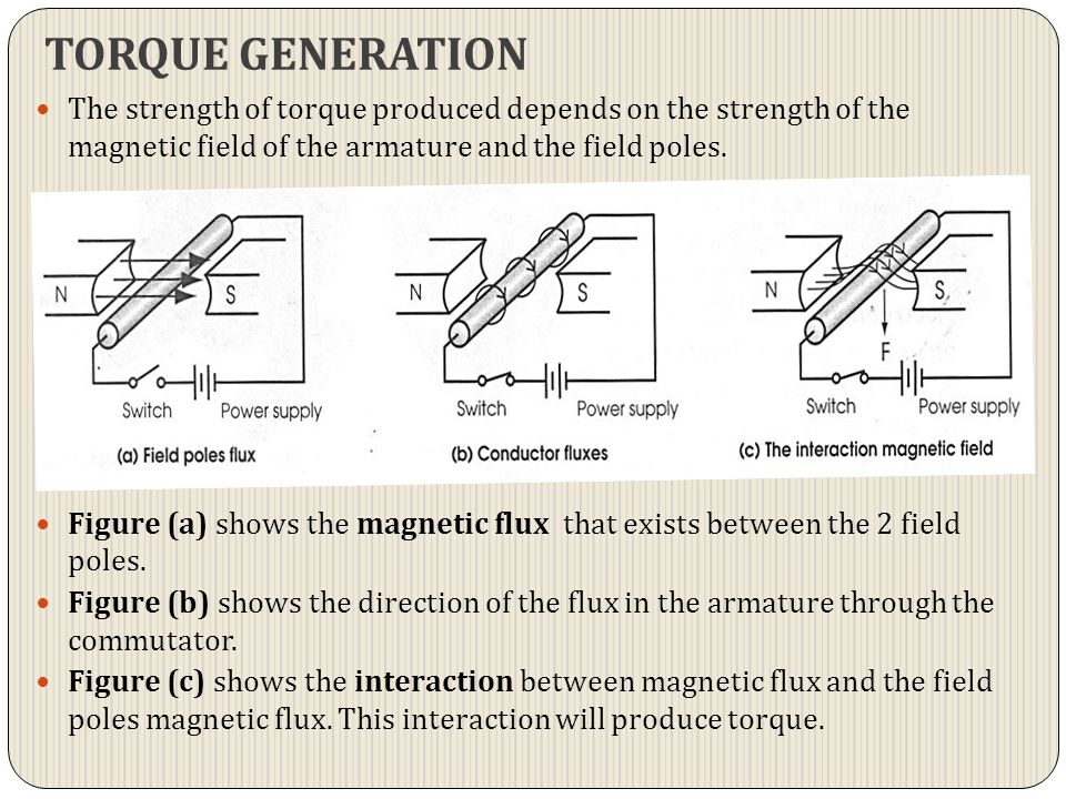 TORQUE GENERATION The strength of torque produced depends on the strength of the magnetic field of the armature and the field poles.