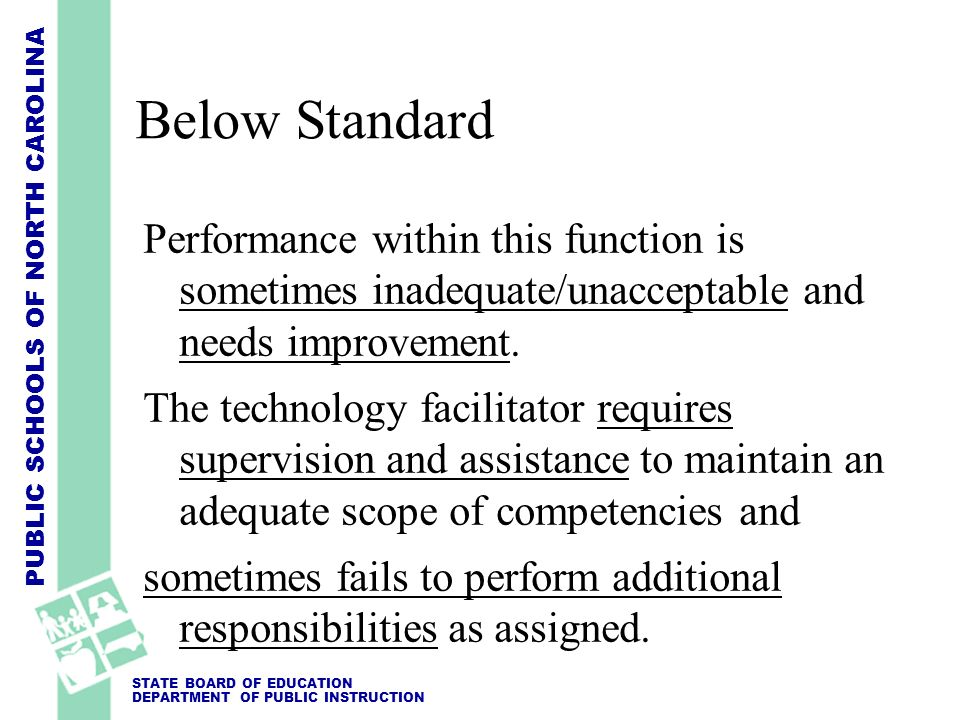 Below Standard Performance within this function is sometimes inadequate/unacceptable and needs improvement.
