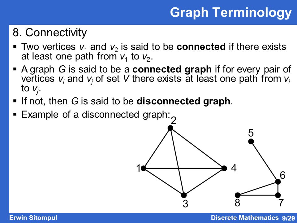 Graph Terminology 8. Connectivity