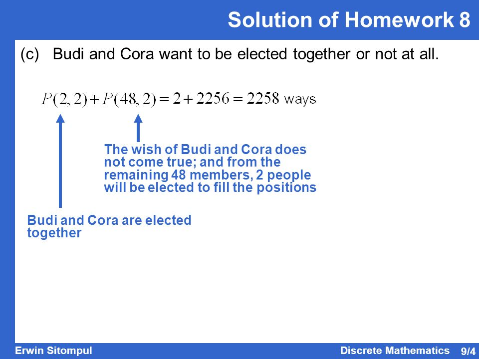 Solution of Homework 8 (c) Budi and Cora want to be elected together or not at all.