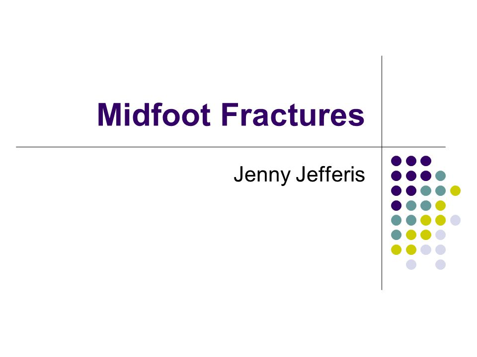 Midfoot Fractures Jenny Jefferis