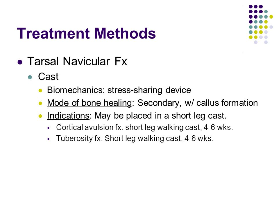 Treatment Methods Tarsal Navicular Fx Cast