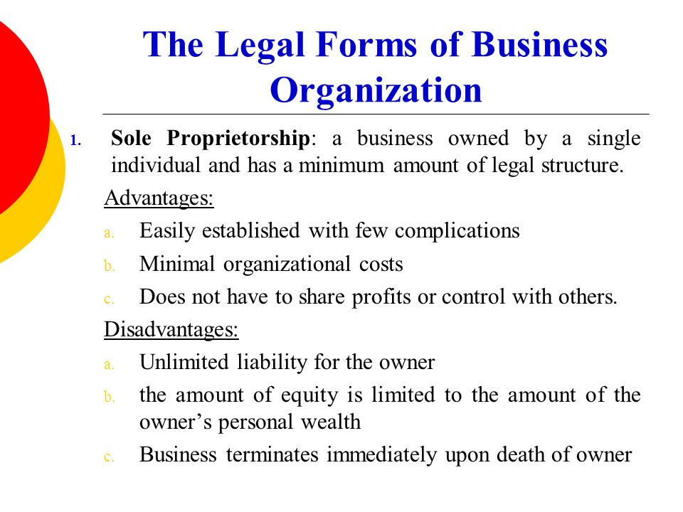 The Legal Forms of Business Organization