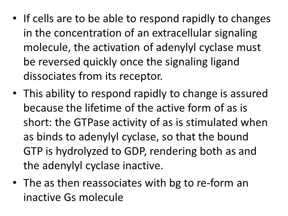 If cells are to be able to respond rapidly to changes in the concentration of an extracellular signaling molecule, the activation of adenylyl cyclase must be reversed quickly once the signaling ligand dissociates from its receptor.
