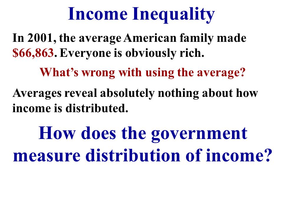 How does the government measure distribution of income