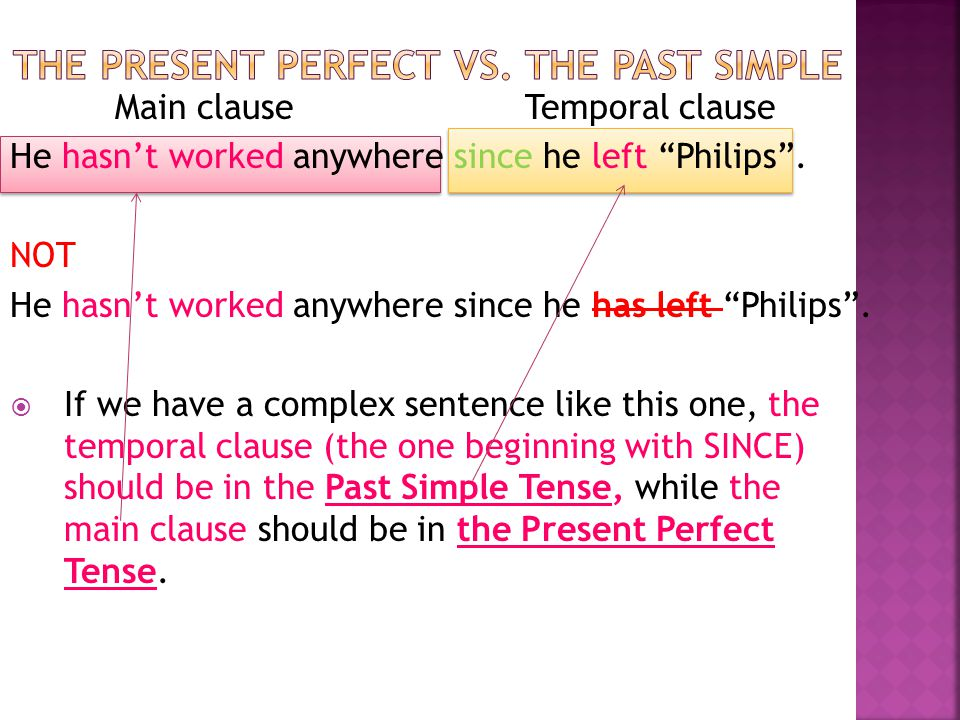 The present perfect vs. the past simple