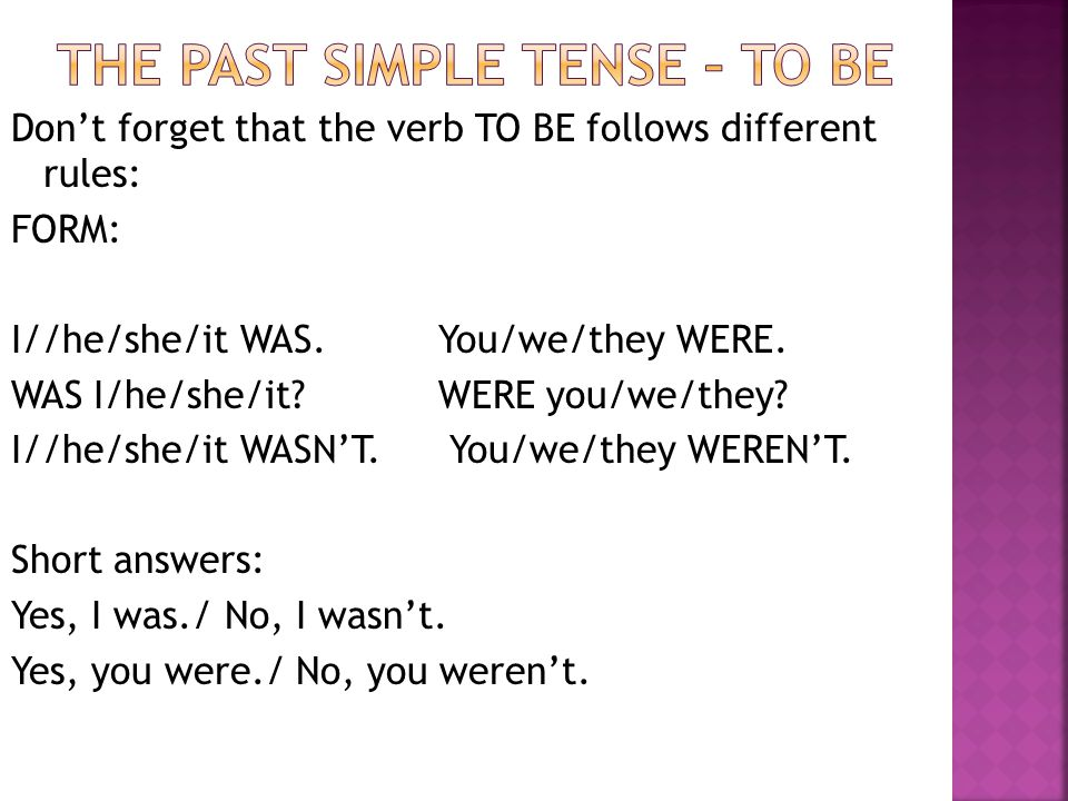 The past simple tense – to be