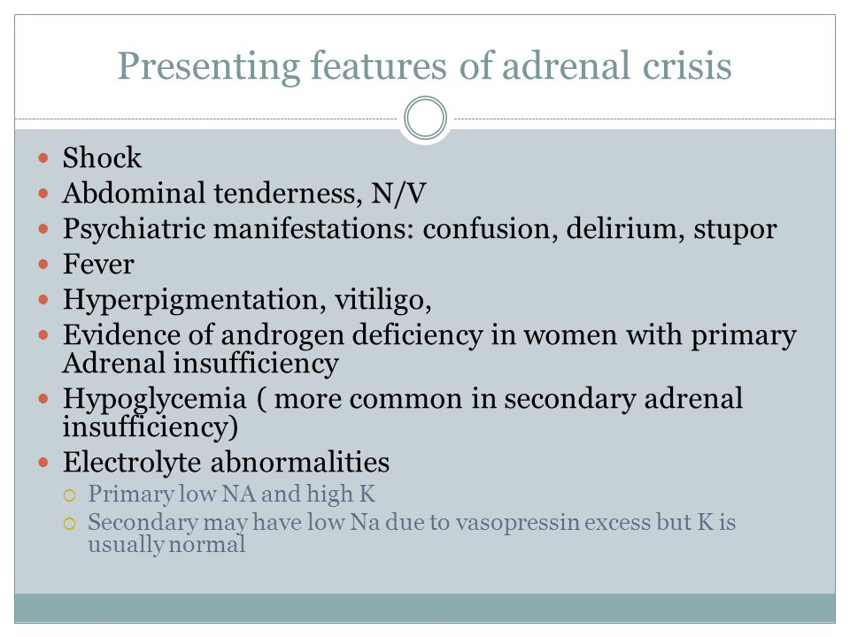 Presenting features of adrenal crisis