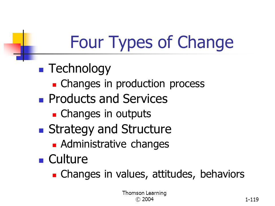 Four Types of Change Technology Products and Services