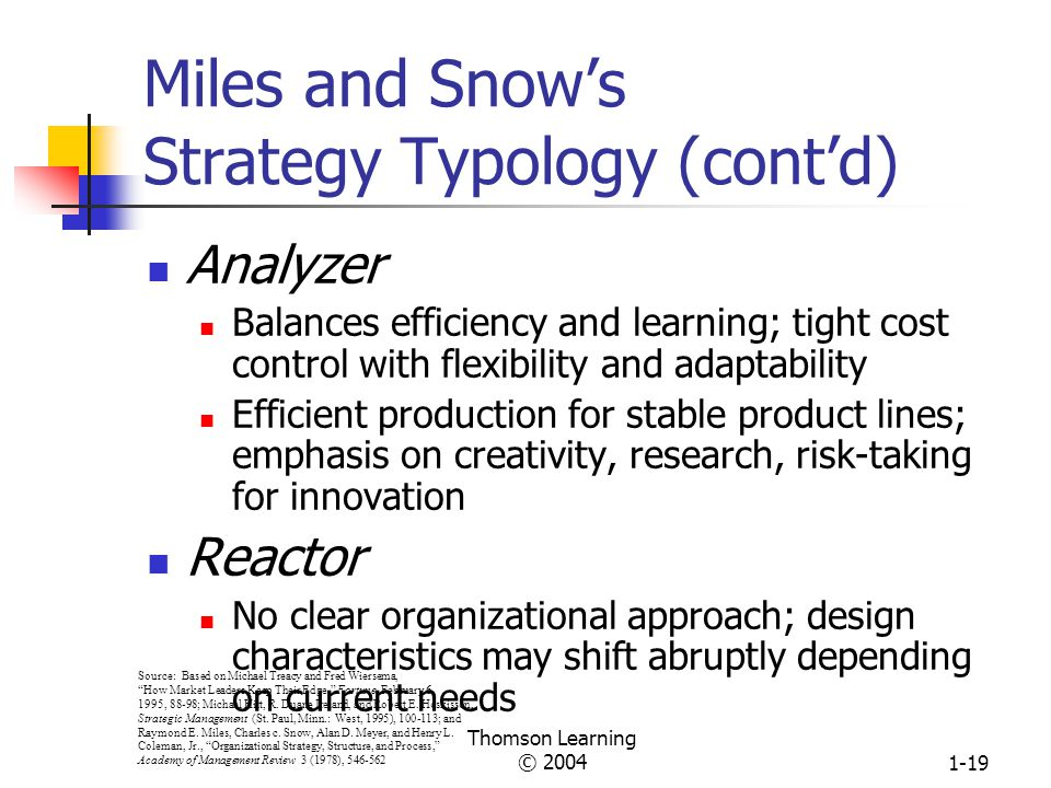 Miles and Snow's Strategy Typology (cont'd)