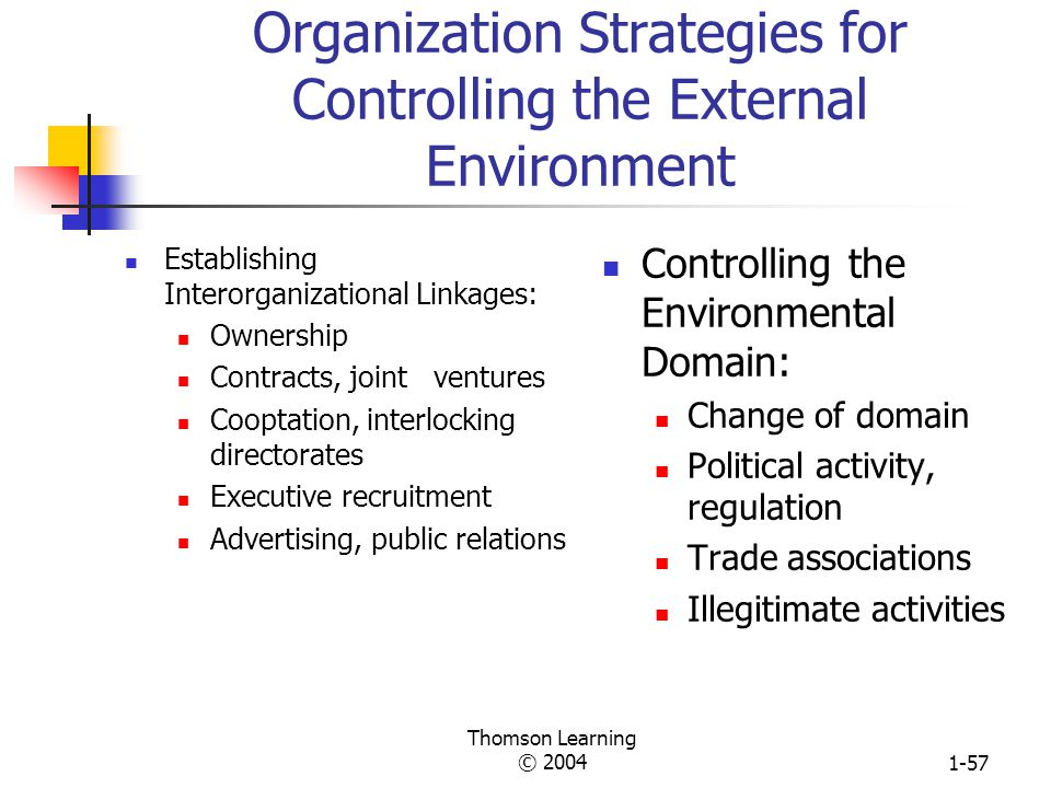 Organization Strategies for Controlling the External Environment