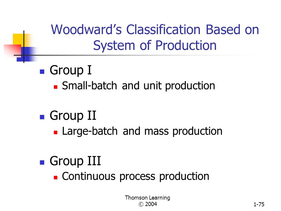 Woodward's Classification Based on System of Production