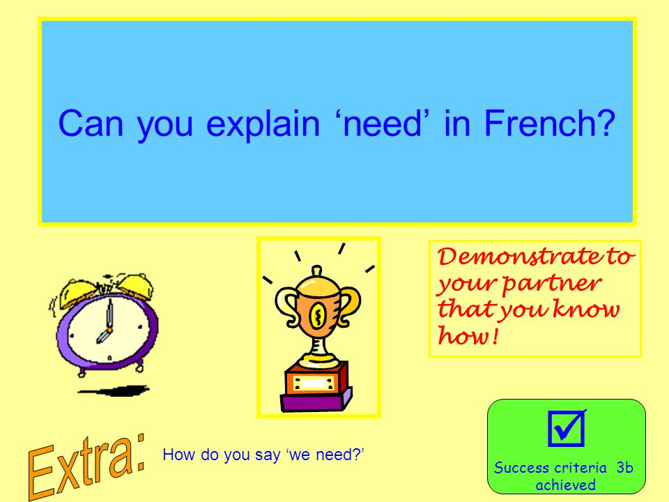 Can you explain 'need' in French