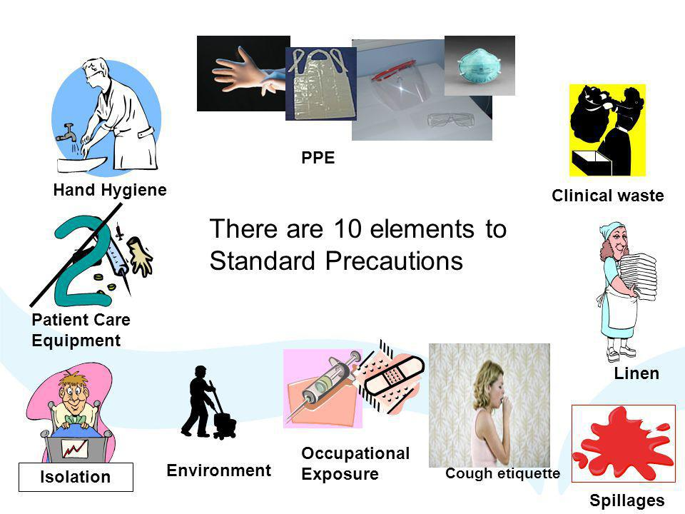2 There are 10 elements to Standard Precautions PPE Hand Hygiene