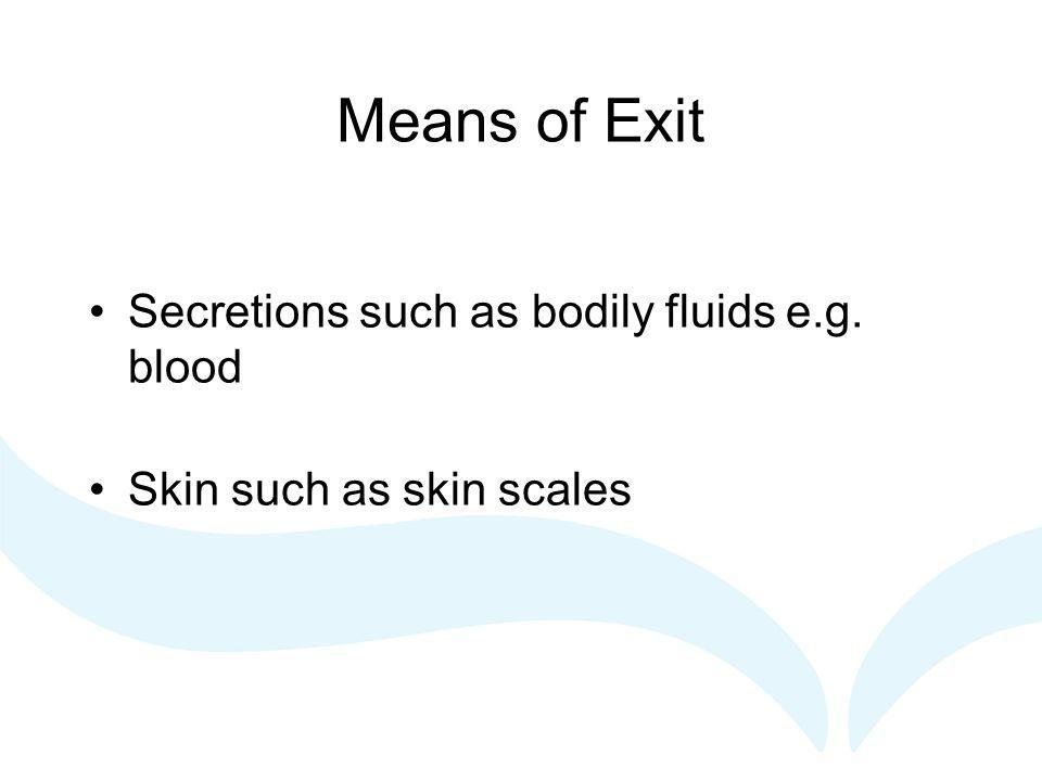 Means of Exit Secretions such as bodily fluids e.g. blood