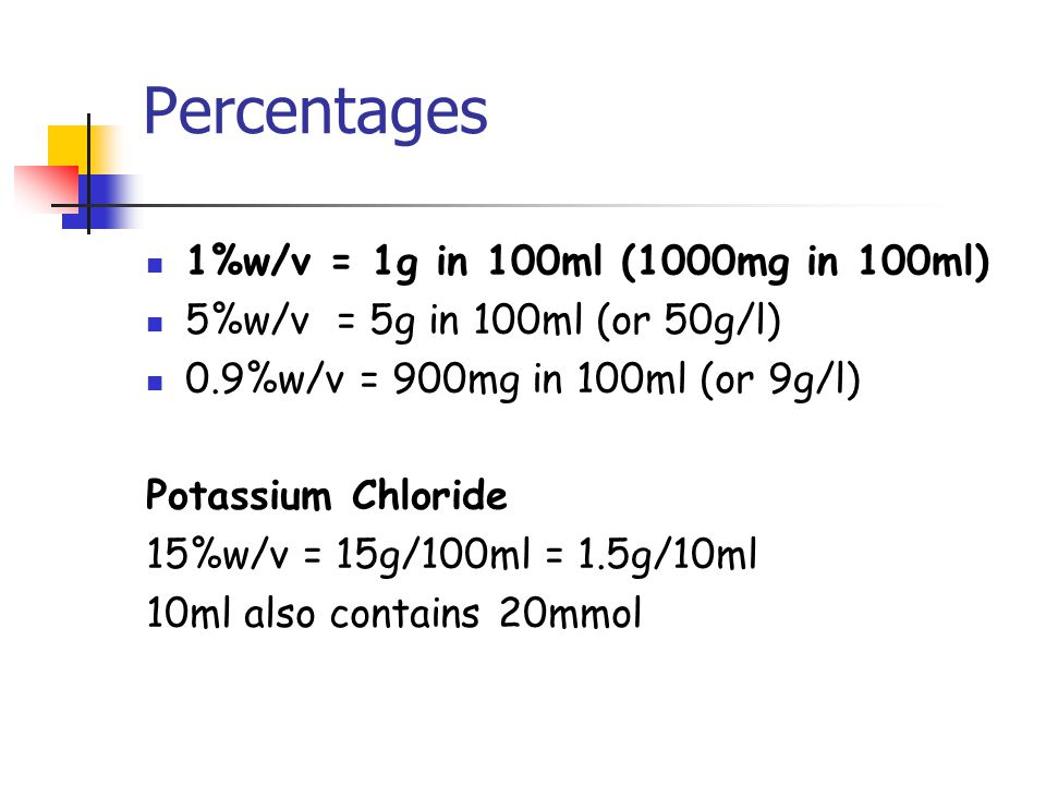 Percentages 1%w/v = 1g in 100ml (1000mg in 100ml)