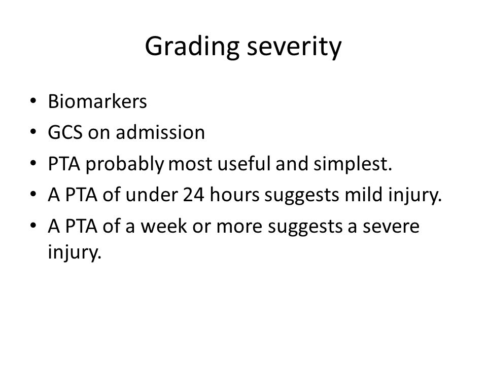 Grading severity Biomarkers GCS on admission