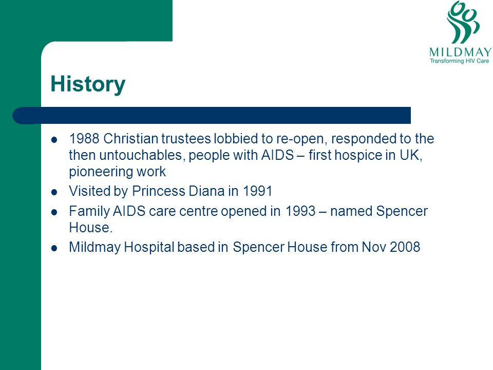 History 1988 Christian trustees lobbied to re-open, responded to the then untouchables, people with AIDS – first hospice in UK, pioneering work.
