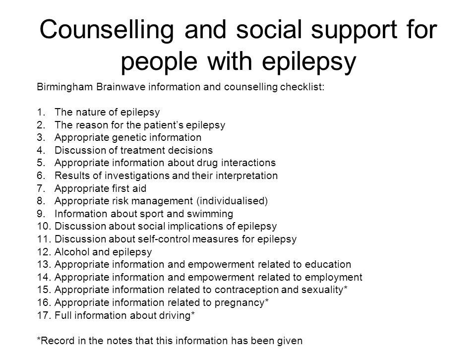 Counselling and social support for people with epilepsy