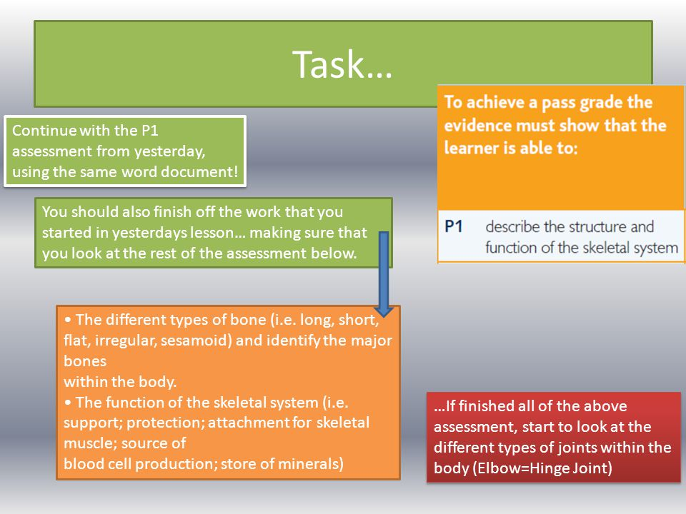 Task… Continue with the P1 assessment from yesterday, using the same word document!