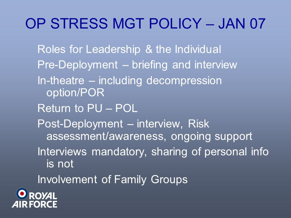 OP STRESS MGT POLICY – JAN 07