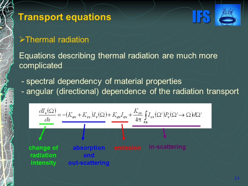 Transport equations Thermal radiation