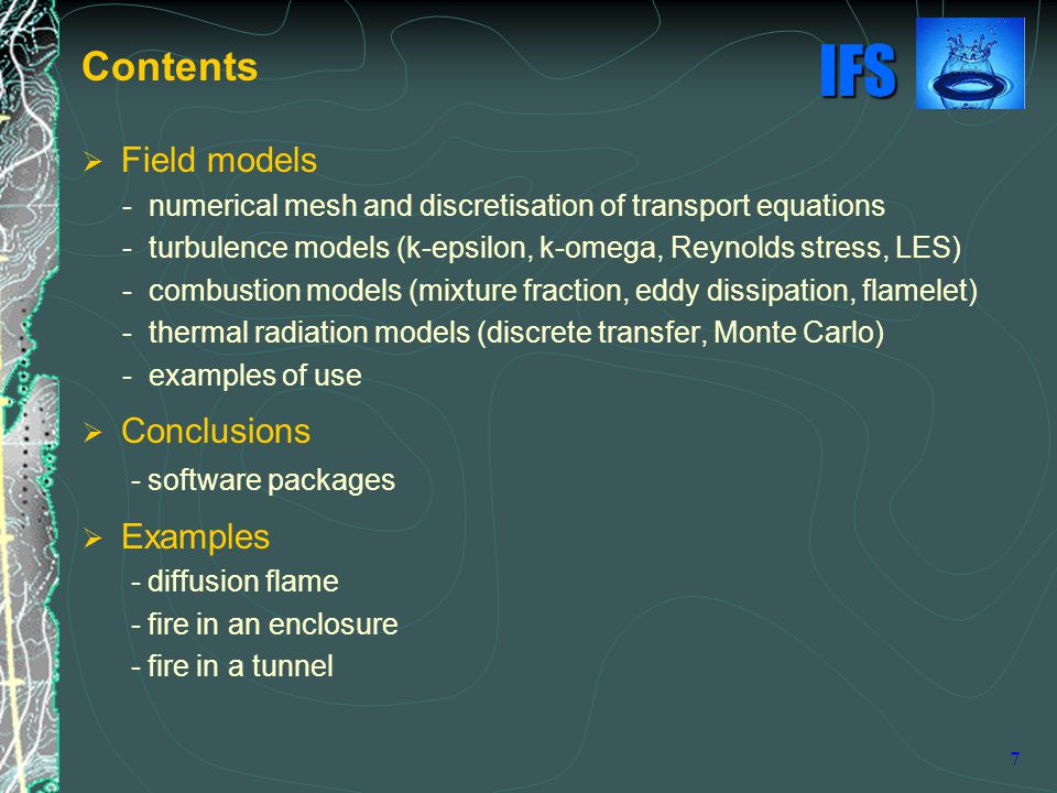 Contents Field models Conclusions Examples