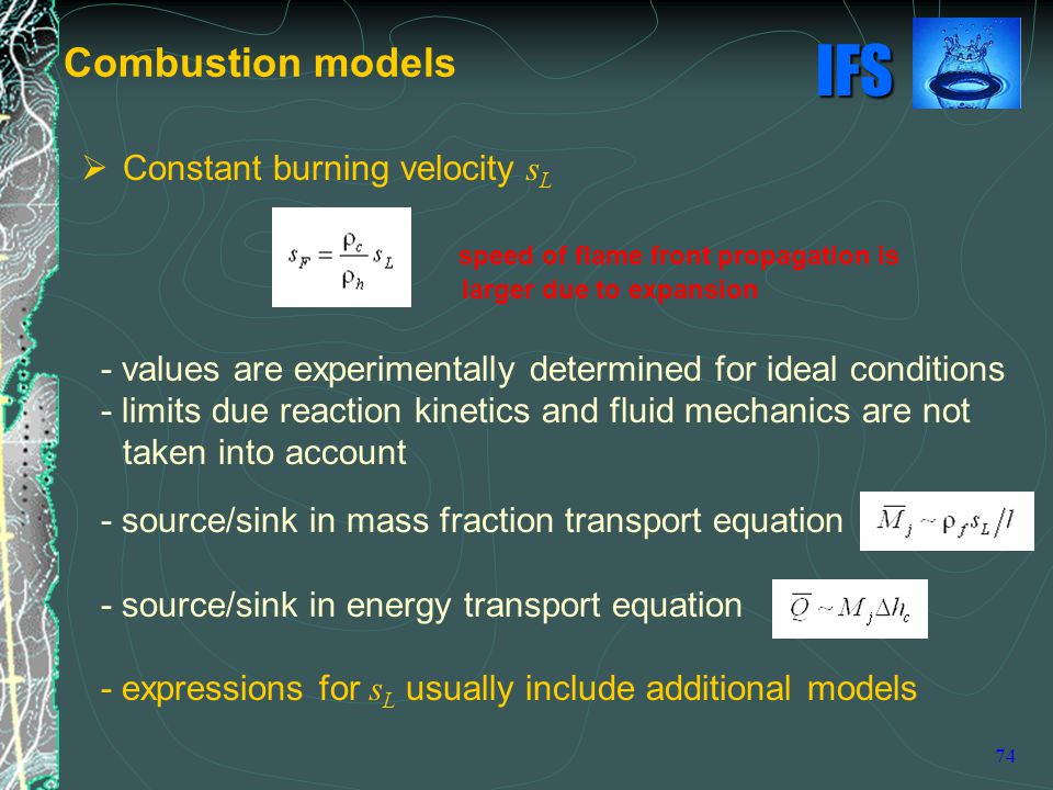 Combustion models Constant burning velocity sL