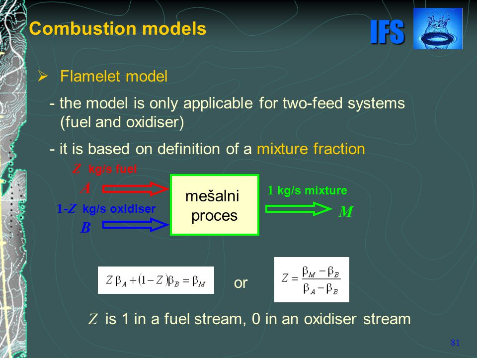 Combustion models Flamelet model