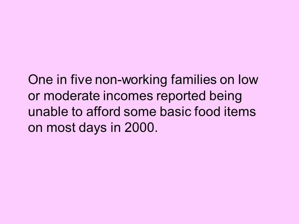 One in five non-working families on low or moderate incomes reported being unable to afford some basic food items on most days in 2000.