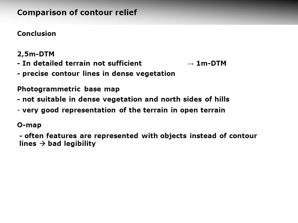 Comparison of contour relief
