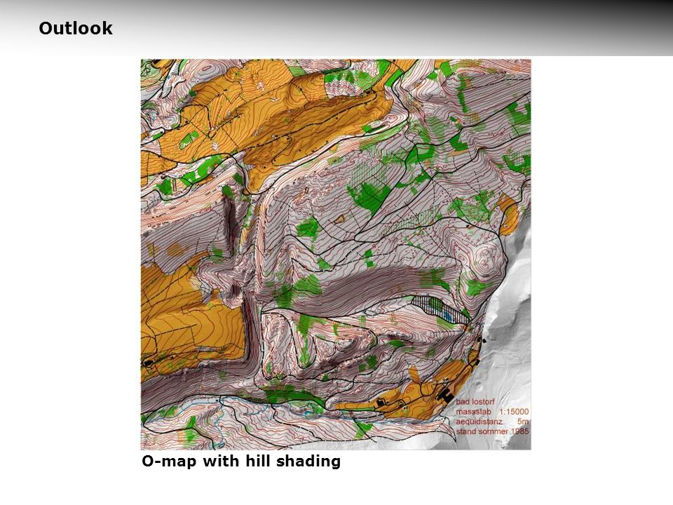 Outlook O-map with hill shading