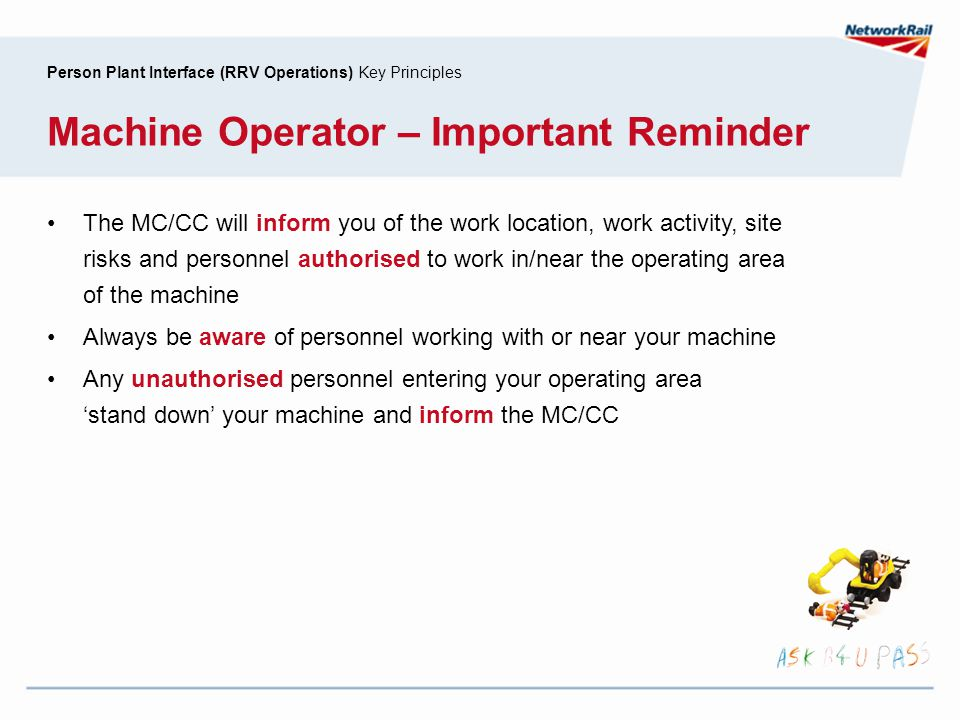 Machine Operator – Important Reminder