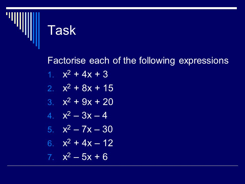 Task Factorise each of the following expressions x2 + 4x + 3