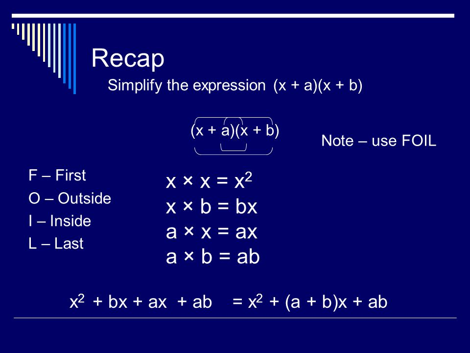 Simplify the expression (x + a)(x + b)