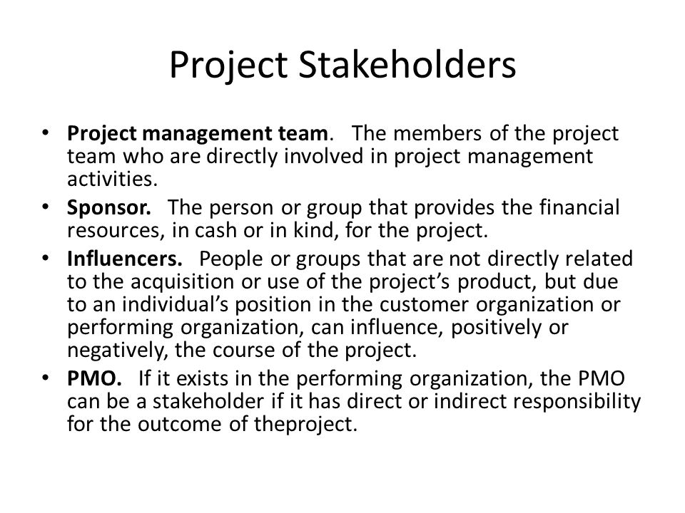Project Stakeholders Project management team. The members of the project team who are directly involved in project management activities.