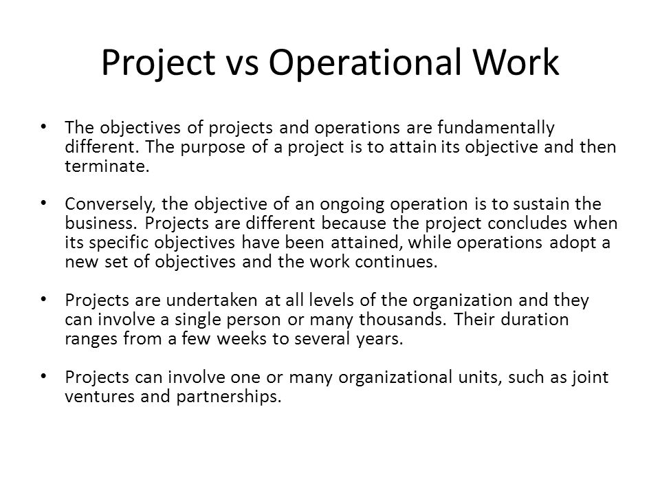 Project vs Operational Work