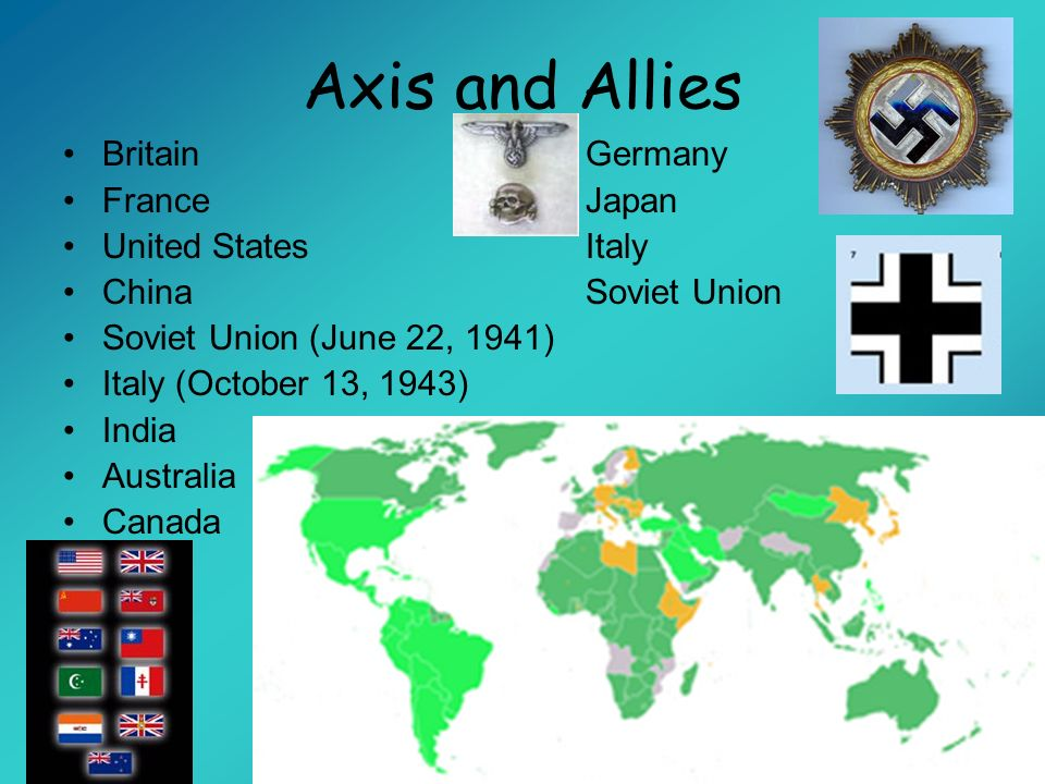 Axis and Allies Britain Germany France Japan United States Italy