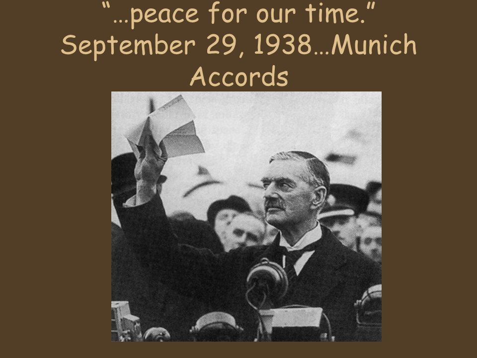 …peace for our time. September 29, 1938…Munich Accords