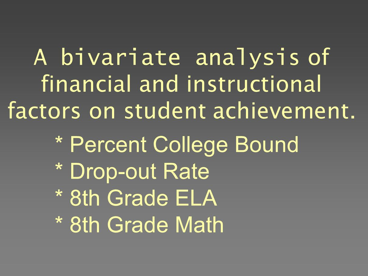 A bivariate analysis of financial and instructional factors on student achievement.