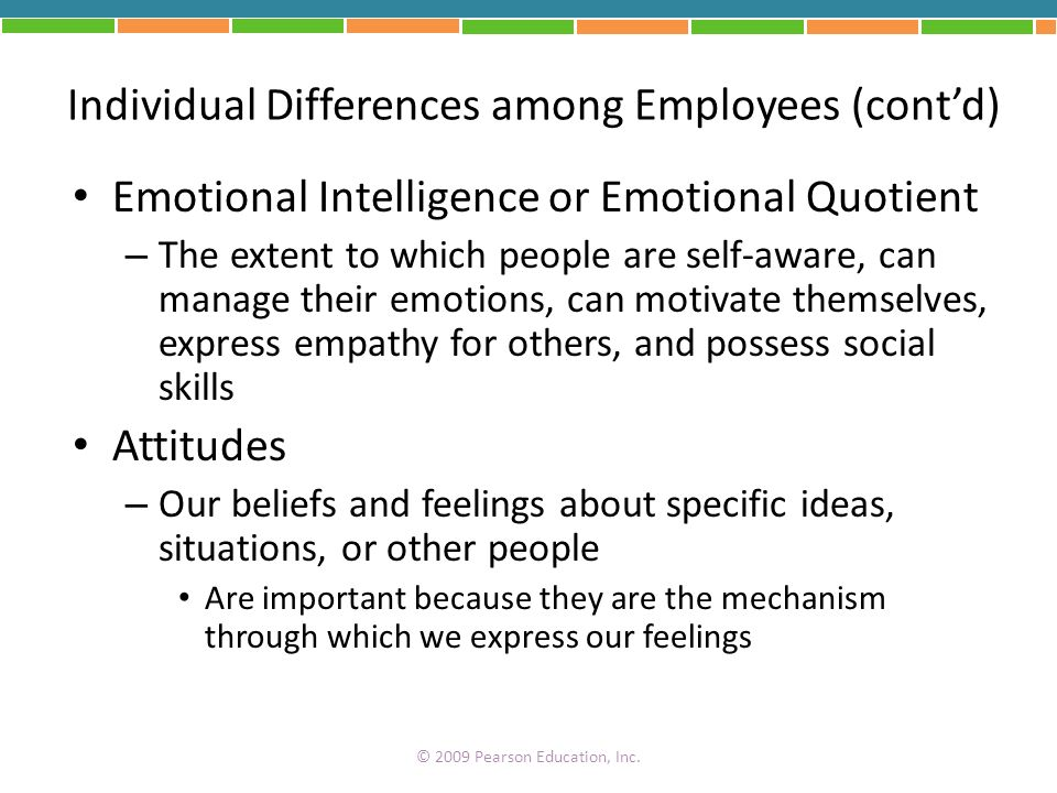 Individual Differences among Employees (cont'd)