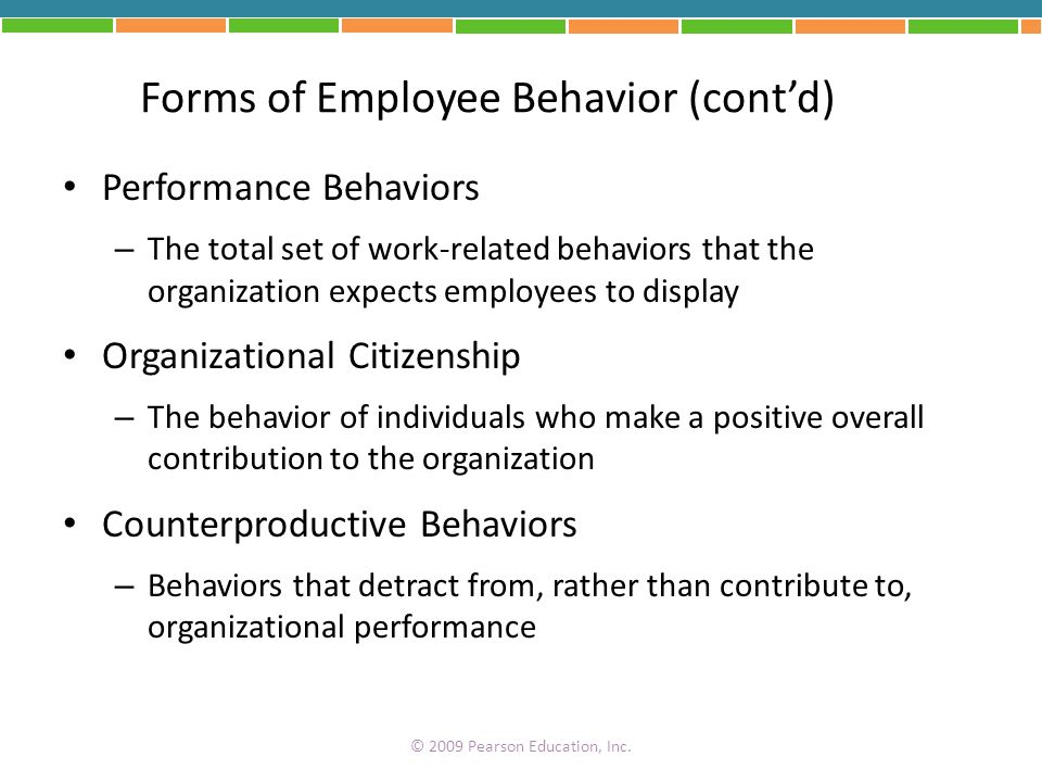 Forms of Employee Behavior (cont'd)