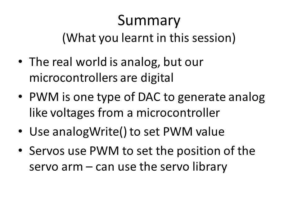 Summary (What you learnt in this session)