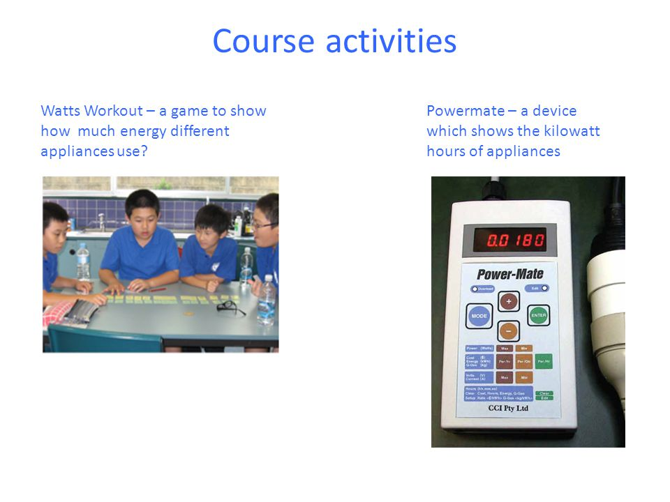 Course activities Watts Workout – a game to show how much energy different appliances use