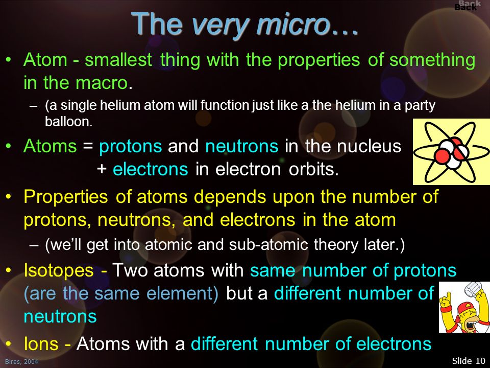 The very micro… Atom - smallest thing with the properties of something in the macro.