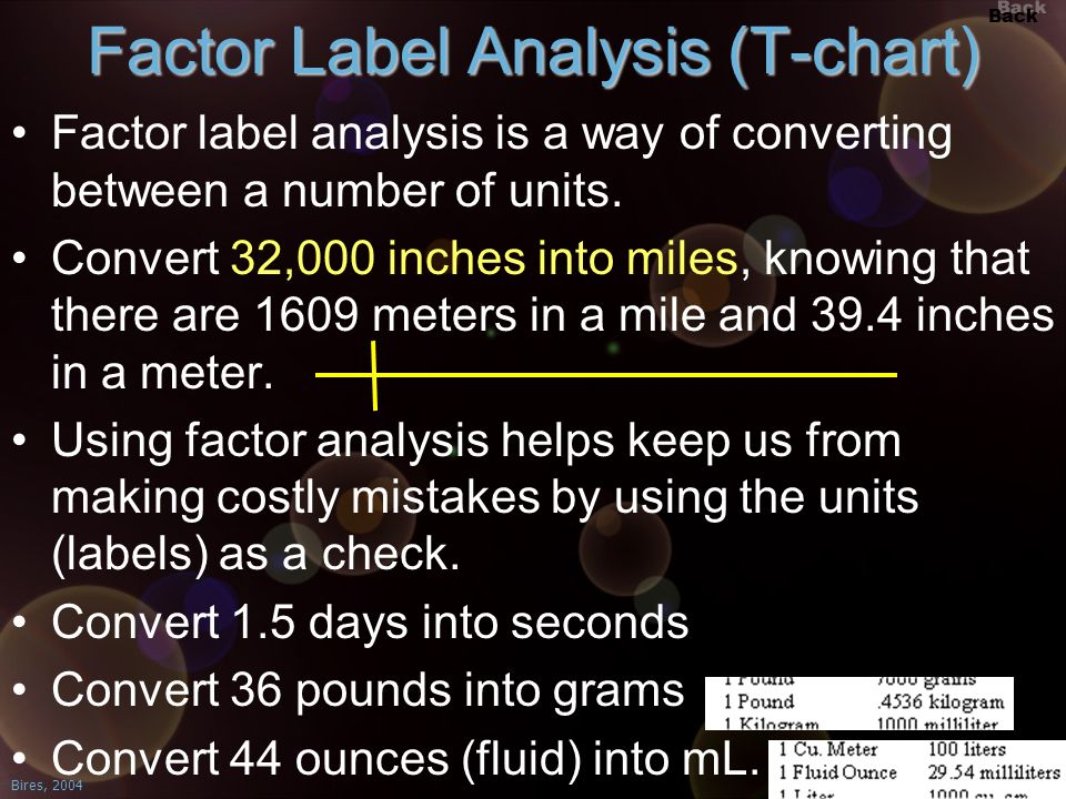 Factor Label Analysis (T-chart)