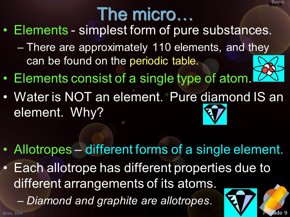 The micro… Elements - simplest form of pure substances.